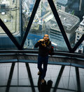 Photographer st mary axe london with a view of behind from the top of skyscraper the gherking open house event annual free Stock Images