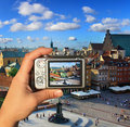 Photographer takes picture of Warsaw Stock Photography