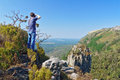 Photographer taking photo of beautiful view of blyde river canyon nature south africa Royalty Free Stock Photography