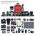 Photographer tools line flat