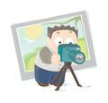 Photographer vector illustration of a young with camera Royalty Free Stock Image