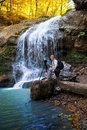 Photographer of the waterfall in forest Royalty Free Stock Image