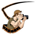 Photographer at work abstract illustration of with photographic film white background Royalty Free Stock Images