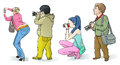 Photographers set caricature vector images in different poses Royalty Free Stock Image