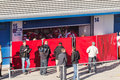 Photographers waiting for pedro martinez de la rosa jerez frontera spain february on his first test with ferrari at jerez Stock Photography