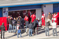 Photographers waiting for pedro martinez de la rosa jerez frontera spain february on his first test with ferrari at jerez Stock Images