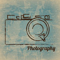 Photographic camera drawn freehand over vintage background vector illustration Royalty Free Stock Photography
