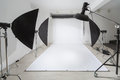 Photographic equipment and a white backdrop in studio Stock Photo