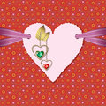 Photographic paper heart, diamonds and ribbon Royalty Free Stock Photo