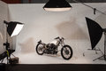 Photographic set with motorbike at eicma in milan italy november international motorcycle exhibition on november Royalty Free Stock Image
