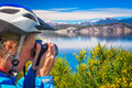 Photographing argentinian blue lakes Royalty Free Stock Photo