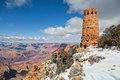 Photographing desert view watchtower in winter a photographer next to the historic stands guard over the amazing colorful scenery Royalty Free Stock Image