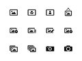 Photographs and camera icons on white background vector illustration Royalty Free Stock Photo