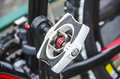Photographs of the detail of an automatic pedals a bicycle Royalty Free Stock Photos
