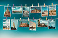 Photographs of dresden toned collage hang on clothespegs image Stock Photography
