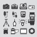 Photography camera icons set lens and accessories Royalty Free Stock Photography
