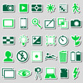 Photography and camera theme color simple icons stickers set eps10 Royalty Free Stock Photo