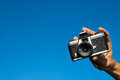 Photography concept classic vintage mm gray plastic camera Royalty Free Stock Photography