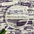 Photography concept related words in tag cloud conceptual info text graphic word collage Stock Image