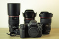 Photography equipment canon eos d and canon lenses still life Stock Photography
