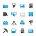 Photography equipment icons vector icon set Stock Photo