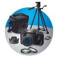 Photography equipment illustration of various Stock Photography