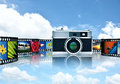 Photography and image sharing concept with elegant retro camera as main object Stock Photo