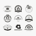 Photography logos vector collection of logo templates photocam logotypes vintage badges and icons modern mass media icons Stock Photography