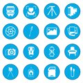 Photography set icon blue