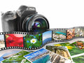 Photography slr camera film and photos d Stock Photo