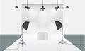 Photography studio with lighting equipment and backdrop vector. Display mockup Royalty Free Stock Photo