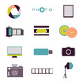 Photography vintage retro icons, badges and labels set .
