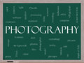Photography word cloud concept on a blackboard Stock Image