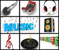 Photomontage of musical equipments Royalty Free Stock Photos