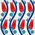 Photorealistic illustration of a seamless turkish tile tulip pattern Royalty Free Stock Photo