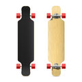 Photorealistic longboard skateboard illustration face and back Stock Photos
