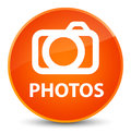 Photos (camera icon) elegant orange round button
