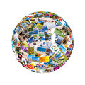 stock image of  Photos collage in the shape of a sphere
