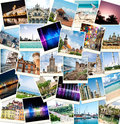 Photos from travels to different countries collage of Royalty Free Stock Photo