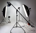 Photostudio equipment large with lighting Stock Photos