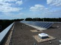 Photovoltaic installation top roof Stock Photos