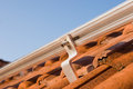 Photovoltaic mounting profiles on a roof Royalty Free Stock Photo