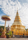 Phra that hari phunchai golden pagoda in thai temple at lamphun province northern thailand Royalty Free Stock Photos