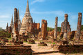Phra nakhon si ayutthaya ruines of ancient palace in Royalty Free Stock Photos