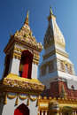 Phra That Phanom Chedi and Belfry Stock Image