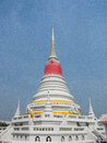 Phra samut chedi the elegant white locate in prakan province on the bank of gulf of thailand Royalty Free Stock Image