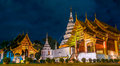Phra singh temple located in the western part of the old city center of chiang mai Stock Image