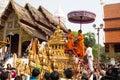 Phra Singh temple in Songkran festival. Royalty Free Stock Photo