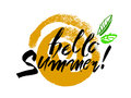 Phrase Hello Summer. Design elements with ink and brush. Hand drawing with paint brush. Vector