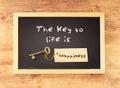 Fráze klíč na život je štěstí písemný na tabule